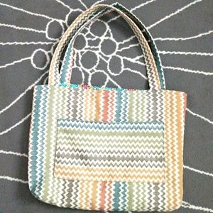 Handmade Fabric Tote with Pocket Reversible